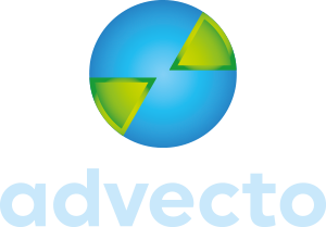 advecto logo design case study showing negative logo version for use on dark backgrounds