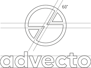 advecto logo design case study showing geometric construction of logo